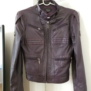 Bebe Purple Leather Jacket